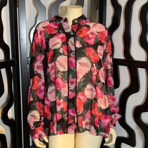 Ellen Tracy Floral Print Button Down Blouse